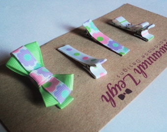 Pink purple green and white set of four printed grosgrain ribbon hairclips