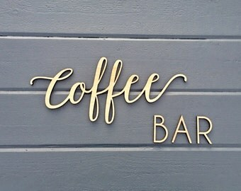 Coffee Bar Small Wall Sign, Kitchen Dining Room Office Break Room Home Wall Art Drink Housewarming Gift Wood Sign Decor Wedding Wooden Sign