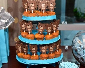 Teddy Bear Cupcake Toppers, teddy bear birthday party. teddy bear baby shower, teddy bear party, teddy bear decoration