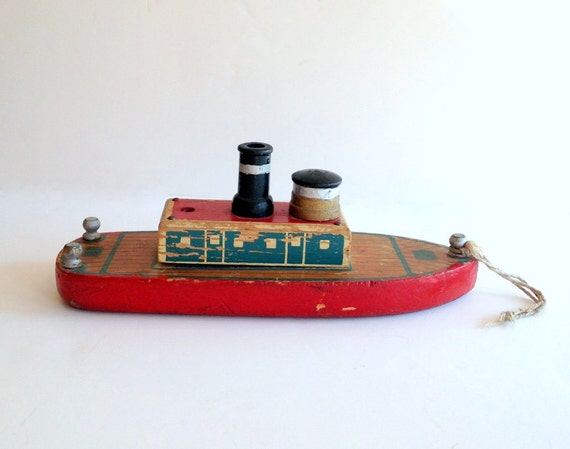 Reserved Vintage Wooden Boat Wood Toy Shabby Toy By
