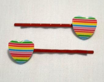 Striped Heart Hair Pins
