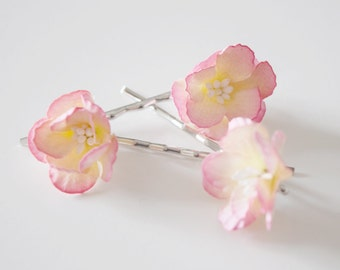 Cherry blossom flower pins, Bridal hair clips, blossom pins, pin cherry blossom bobby pins - set of three