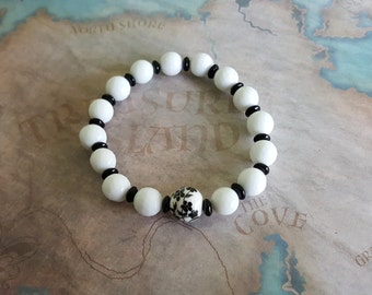 Beautiful white coral & black floral porcelain bracelet