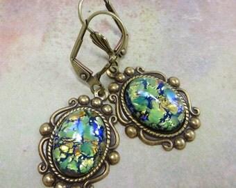 Green Opal Earrings Dangles Peridot Green Fire Opal Earrings Jewelry Fantasy Mystical