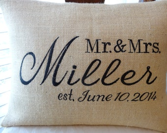 engagement/wedding/anniversary personalized/monogrammed burlap Mr. and Mrs. pillow