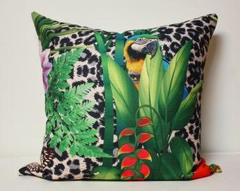 20x20 Tropical Jungle pillow cover, amazon pillow cover, parrot pillow, guacamaya bird pillow cover, outdoor pillow cover, jungle pillow