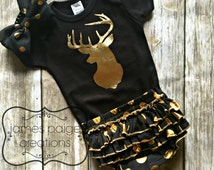 Deer Baby Girl Outfit with GOLD DEER Silhouette Country Girl Shirt CAMO Shirt Deer Hunting Outfit