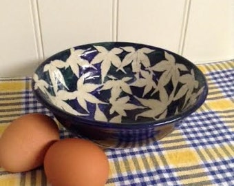 Cobalt Blue Pottery Bowl - Handcrafted