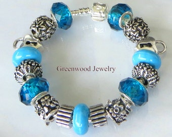 Teal Blue, European Style Charm Bracelet - European Handpainted - Lampwork Murano Glass, Crystal Beads - Great Gift for Her
