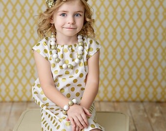 Girls Gold dress, Gold dot dress, polka dot dress, girls christmas dress, holiday dress, gold and cream dress, party dress, girls gold dress