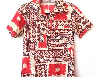 vintage 60's / tropical tiki / tribal print / aloha shirt  / hawaiian shirt