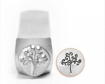 Tree of life metal design stamp ,6mm, jewelry stamping tool