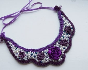 Violet Rose bib necklace