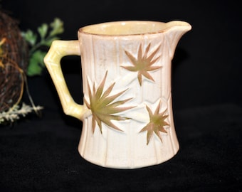 Etruscan majolica antique pitcher, Majolica pottery, Vintage majolica, creamer, white with gold accents, Great for a collection
