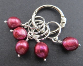Luxury Sterling Silver and Fresh Water Pearl Stitch Markers (Large)