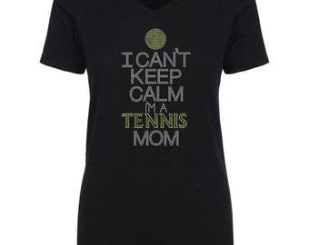 Keep Calm TENNIS Mom Hot Fix Rhinestones