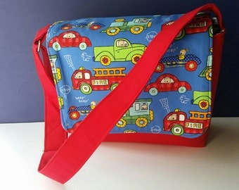 Kids Messenger Bag Blue and Red Cars and Truck with Blue Chevron