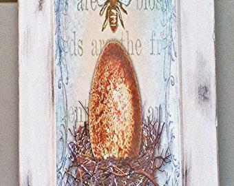 Egg & Nest Art on Cabinet Door