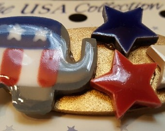 GOP TRIPLE STAR Ceramic Jewelry Pin by Mill Hill - Red White & Blue MHUSA4