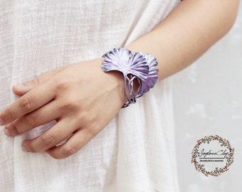 violet silver ginkgo leaf cuff, ginkgo bracelet ,handmade by polymer clay