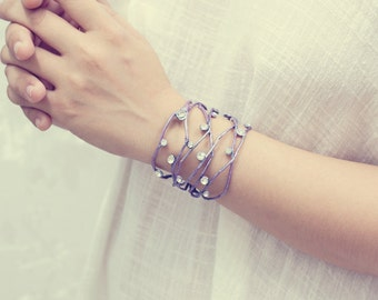 violet silver leaf cuff,  bracelet ,handmade by polymer clay
