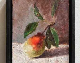 """Pear painting by Michael Schade, 6""""x7 1/2"""" oil on wood panel."""