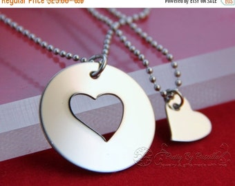 Mother Daughter Heart Necklace Set - Mother's Day - Gift for Mom