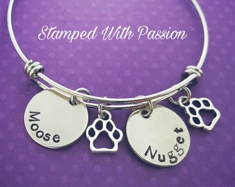 Dog paw bangle bracelet, Charm bracelet, Personalized Dog Bracelet, Dog rememberence, Pet Jewelry,Cat Bracelet, Deceased Pet, in memory of