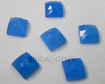 Lot 10 Pieces Blue Chalcedony Square Shape Rose Cut Loose Gemstone