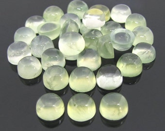 10 Pieces Lot Natural Prehnite Round Shape Gemstone Smooth Polished Cabochon