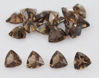 10 Pieces Lot Smoky Quartz Trillion Faceted Cut Loose Gemstone