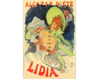 Jules Cheret: Alcazar d' Ete' (Lidia) - Vintage 19th Century Advertisement Poster-Art (264025552)
