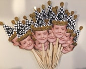 Over the hill birthday black and gold hat photo cupcake toppers .