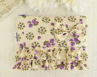 Liliac zipper pouch with ruffles and bow