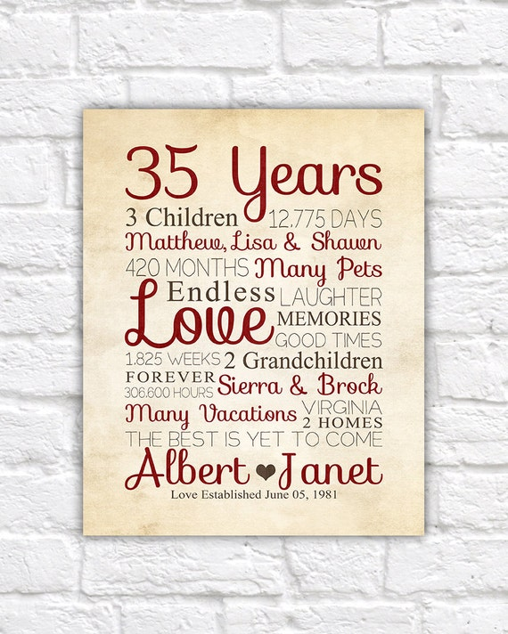 Gift Ideas For Parents 35th Wedding Anniversary : ... Anniversary, Husband, Wife, Gift for Parents, Parents Anniversary