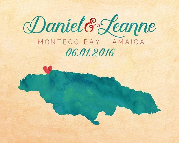 Jamaica Wedding Invitations: Jamaica Montego Bay Map Jamaica Wedding Gift Honeymoon