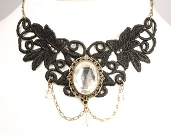 black lace necklace with clear glass cabochon