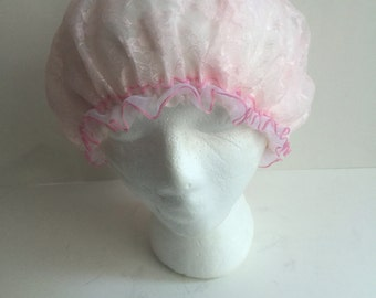 40's hair bonnet, hair accesory for overnight, vintage pink bonnet