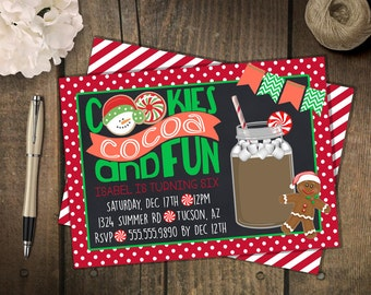Cookies and Cocoa Party Invitation // Christmas Invitation // Cookies and Cocoa // Christmas Party Cookie