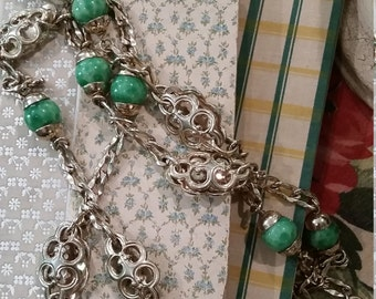 Vintage Gold Tone Green Glass Bead Necklace