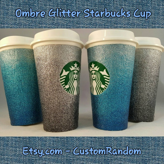 Custom ombre glitter coffee cup custom designed starbucks like this item pronofoot35fo Choice Image