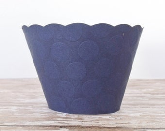Navy Blue Embossed Cupcake Wrappers - Dessert Bar Holders - Standard and Mini Size - Birthdays, Weddings, Showers, Parties - Set of 12