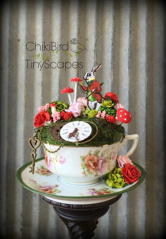 White Rabbit Tea Cup Garden Fairy Tea Cup Alice In