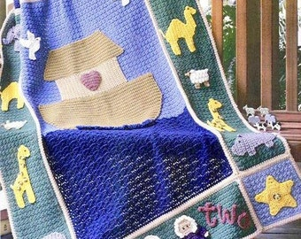 Vintage Crochet Pattern PDF Noah's Ark Afghan   Animals  Baby Pram Cover Cot Blanket Throw