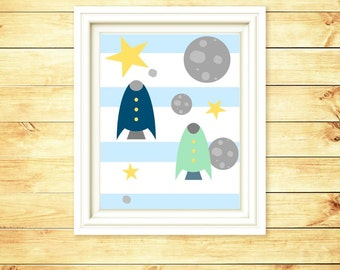 Children Spaceship Art Print - Children Modern Art - Nursery Spacechip Decor - Nursery Wall Print - Boy Wall Decor -  8x10