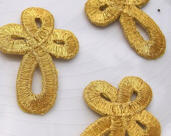 Metallic Gold Knot Faith Applique Iron On, Vintage Embroidered Appliques Wholesale, Faith Applique Patches Embroidery #1187