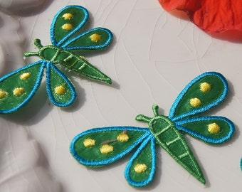 Green Blue Dragonfly Applique, Vintage Embroidered Applique Dragonfly, Iron On Embroidery Appliques Wholesale #1143