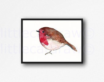 Bird Print Winter Robin Art Print Illustration Art Watercolor Painting Print Bird Watercolour Unframed Art
