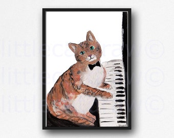 Piano Cat Art Print Illustration Art Watercolor Painting Print Cat Wall Decor Music Lover Piano Art Wall Decor