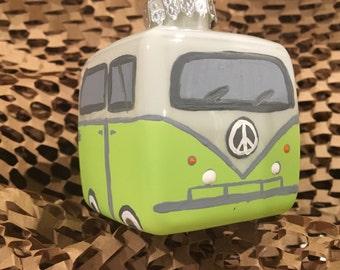 Green VW Bus Ornament